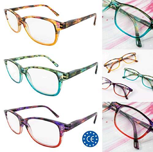 JSG Pack 3 unidades Gafas de Lectura, Diseño mujer Moderna, Dioptrías: 1.0 al 4.0 Vista Cansada, Gafas de cerca, lectura con Filtro Luz, Protección Antifatiga, HR3007 (2.0 Dioptrías)