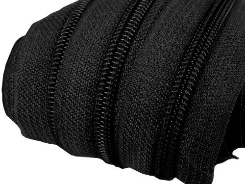 Schnoschi 2 m endlos Reißverschluss 5 mm Laufschiene + 5 Zipper Meterware teilbar Farbwahl (schwarz)