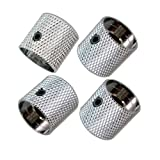 Pack of 4pcs Brass Dome Knob Volume Tone Control Knobs for Electric Guitar Bass Screw Type (Chrome)