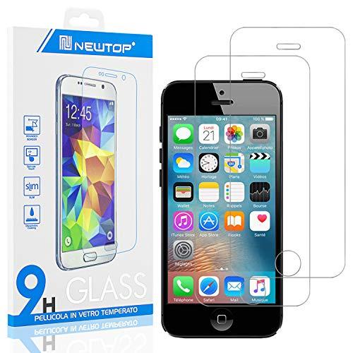N NEWTOP [2 Pezzi] Pellicola GLASS FILM Compatibile per Apple iPhone 5-5S-5SE-5C, Fina 0.3mm Durezza 9H in Vetro Temperato Proteggi Schermo Display Protettiva Anti Urto Graffio Protezione