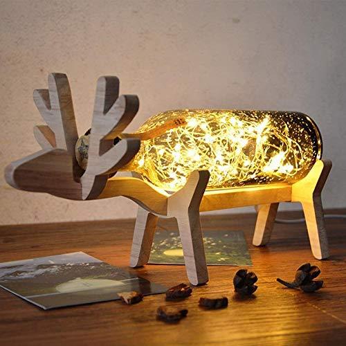 Wgxssjc Lámparas de Mesa Botella Tabla de Madera Creativo Ciervos Fuegos Artificiales de la lámpara LED de Cadena Elk Ciervos Noche Enciende el Cristal turística cumpleaños for la lámpara
