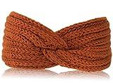 fashionchimp ® Uni-Stirnband für Damen, Winter Strick-Stirnband mit Knoten-Muster (Rost)