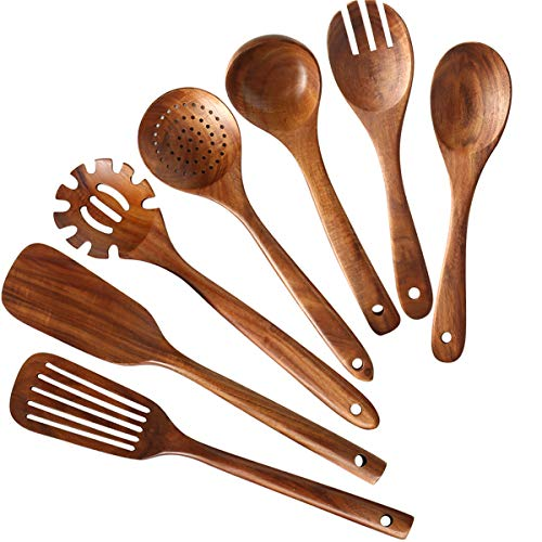 Wooden Kitchen Utensils set,NAYAHOSE Wooden Spoons for cooking Natural Teak Wood Kitchen Spatula Set for Cooking including Spoon Ladle Fork 7 Pack