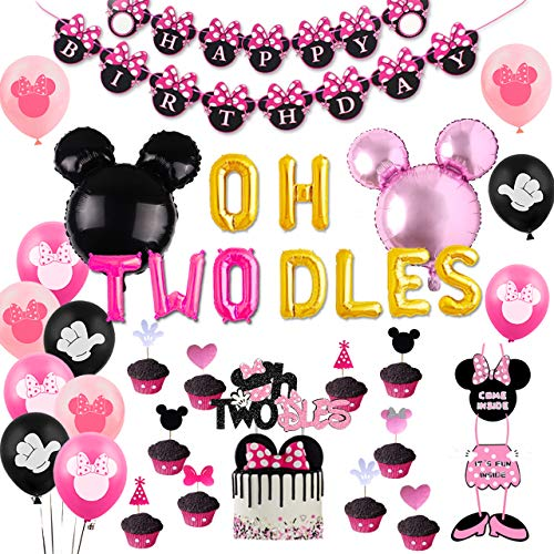 Second 2nd Birthday Party Decorations Themed of Minnie Mouse for Girls Black and Pink, Glittery Cake Topper, Minnie Door Hanging