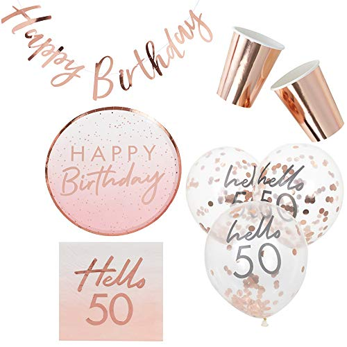 Miss Lovely 38 delen nobele decoratieset 50. Verjaardag Hello 50 - Happy Birtday bloush roze & rosé-goud glitter party-decoratie rond verjaardagsfeest tafeldecoratie slinger ballonnen feestservies