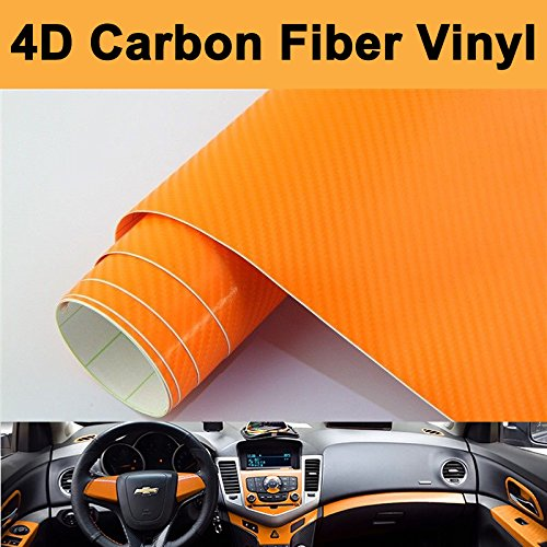 "DIYAH 4D Orange Carbon Fiber Vinyl Wrap Sticker with Air Realease Bubble Free Anti-Wrinkle (84"" x 60"" / 7FT x 5FT)"
