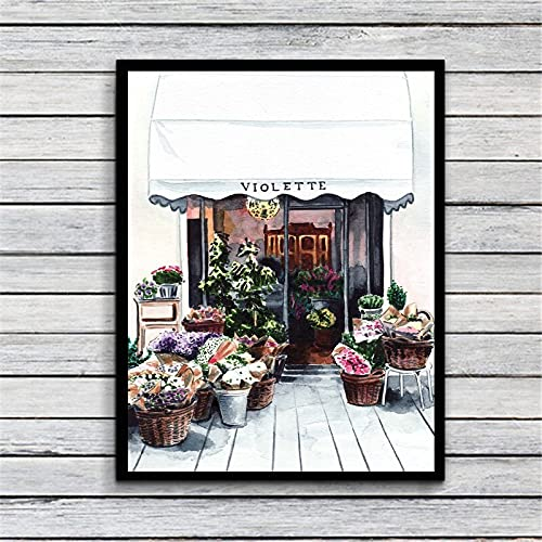 zhuifengshaonian Paris Flower Shop Florist Country Garden Print Canvas Fabric Poster And Print Wall Art Picture Painting Home Decor (ZQ-982) No frame poster 40x60cm
