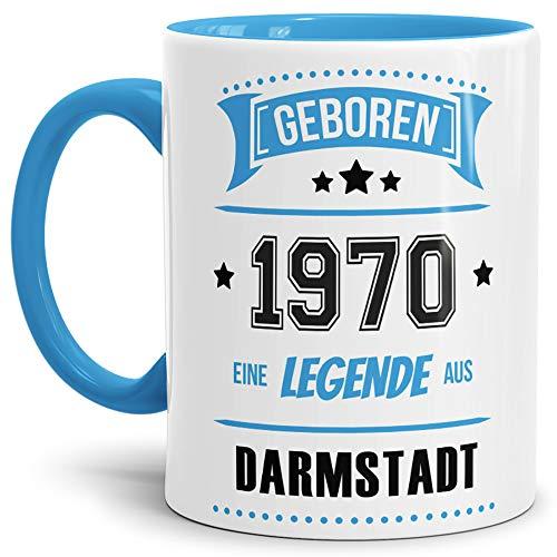 Tassendruck Geburtstags-Tasse Geboren 1970 Eine Legende aus Darmstadt Innen & Henkel Hellblau/Geschenk/mit Spruch/Mug/Cup/Becher/Qualität Made in Germany