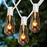 Afirst Outdoor String Lights 20Ft with 20 Edison Bulbs Vintage Bistro String Lights Waterproof UL Listed Patio String Lights for Indoor Backyard Party Wedding-White Cord