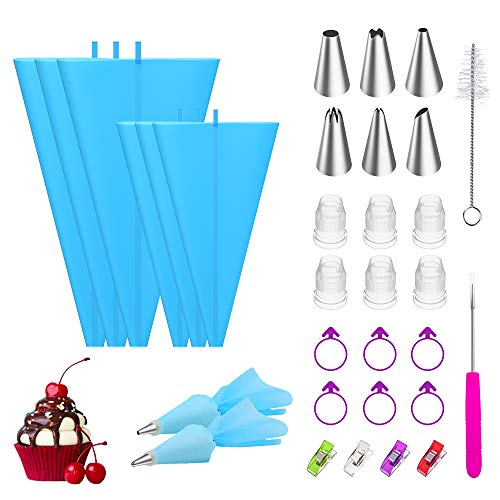 """Ouddy Frosting Tips and Bags, 30pcs Pastry Piping Bags and Tips Set with 6 pcs 2 Sizes(12"""" x 3, 16"""" x 3) Reusable Silicone Icing Piping Bags, 6 Piping Tips 6 Couplers 6 Piping Bag Ties 4 Tip Clips"""