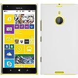 PhoneNatic Hülle kompatibel mit Nokia Lumia 1520 - Hülle weiß gummiert Hard-case + 2 Schutzfolien