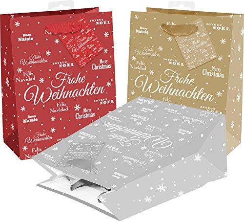 25 Geschenktaschen aus Papier mit Glitter, Merry X-Mas, 3 Farben (12x rot, 7x gold, 6x silber)