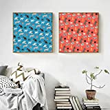 N / A Children Gift Blue Orange Base Cat and Dog Canvas Painting Poster Background Kids Room Home Decoration Frameless 20x20cm