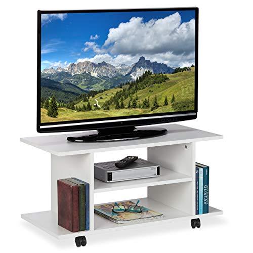 Relaxdays TV Board mit Rollen, 4 offene Ablagen, fahrbarer Couchtisch, für Geräte, CDs, DVDs, HBT 40 x 80 x 40 cm, weiß