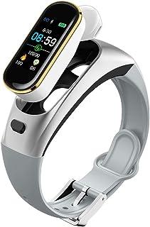 DLIBIG Pulsera Actividad Auriculares Inalámbricos Bluetooth Pantalla Color Pulsera Podómetro con Pulsómetro, Monitor de Calorías, Sueño,Pulsera Deporte para Android y iOS,Silver