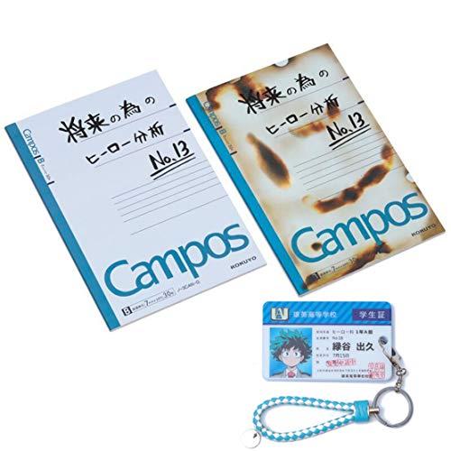 Siskey 3 Stück Set-My Hero Academia Notebook,My Hero Academia Notizbuch,Campus Izuku Midoriya Tagebuch,My Hero Academia Kartenhalter mit Schlüsselanhänger-3PCS
