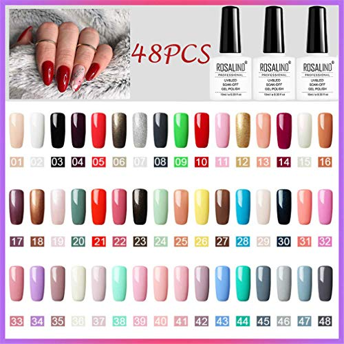 ROSALIND esmalte semi-permanente para uñas uv Brillo del arco iris gel polish manicura set, 48pcs/Kit, 10ml……