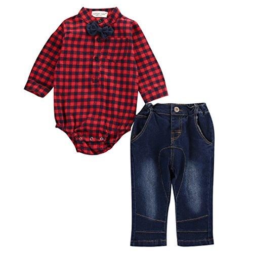 WangsCanis Babykleidung Baby Jungen'2 Stück Langarm Gentleman Kariert Romper Hemd Jeans Set mit Bowtie Outfits (0-6 Monate, Rot)