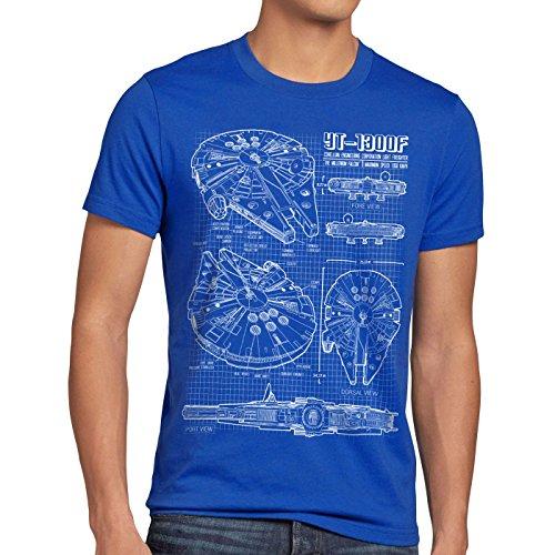 style3 Halcón Milenario Cianotipo Camiseta para Hombre T-Shirt Fotocalco Azul, Talla:L;Color:Azul