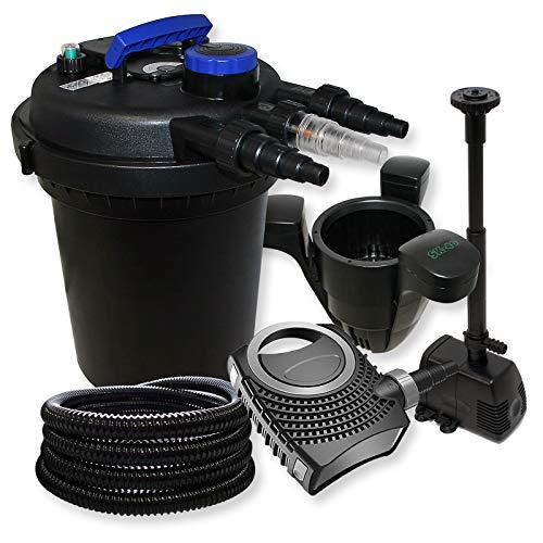 Kit de Filtration à Pression avec 10000l Filter, UVC 11W, 70W Pompe, Pompe de Fontaine et Skimmer
