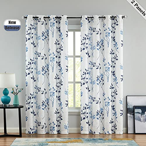 """Beauoop Leaf Print Sheer Window Curtains 95 Inches Long Botanical Floral Pattern Panels Linen Texture Drapes for Living Room/Bedroom/Farmhouse Voile Grommet Window Treatment, 52""""W, Blue/Navy, 2 Panels"""