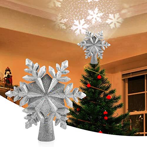VOLADOR Weihnachtsbaumspitze Stern, Weihnachtsbaum Topper mit LED Projektor, Schneeflocke Form Weihnachtsbaum Top Projektor, Christbaumspitze LED Drehen Schneeflocke für Dekoration - Silber