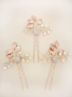 Aegenacess 3Pcs Wedding Hair Decorative Pins Side Set - Leaf Leaves Flower Bridal Vine Boho Clip Crystal Rhinestones Bridesmaids Gift Accessories for Bride Women (Rose Gold)