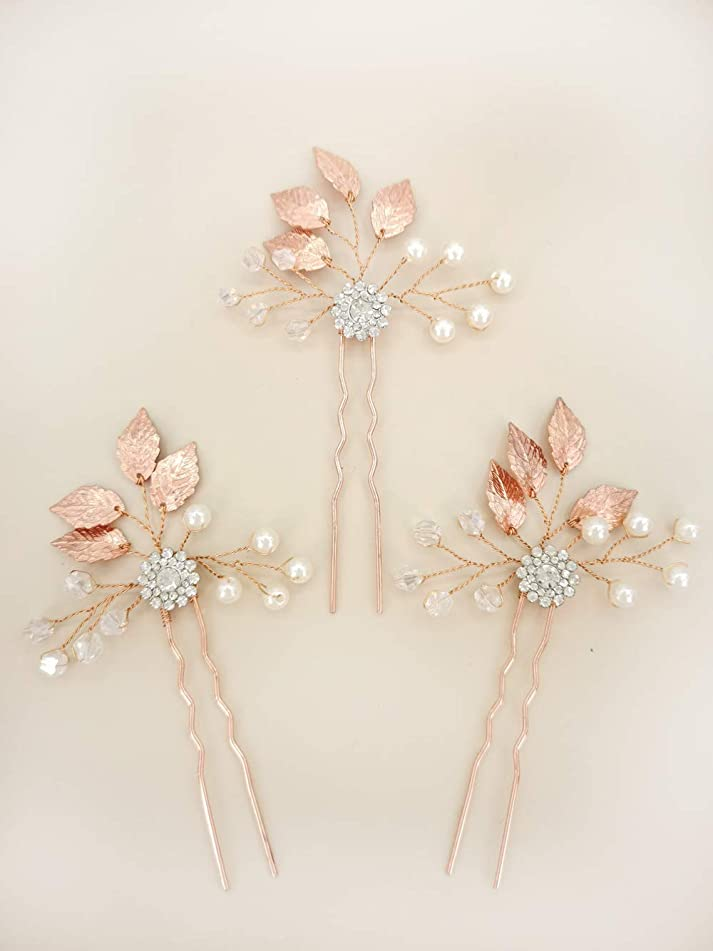 Aegenacess 3Pcs Wedding Hair Decorative Pins Side Set - Leaf Leaves Flower Bridal Vine Boho Clip Crystal Rhinestones Bridesmaids Gift Accessories for Bride Women (Rose Gold)
