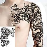 adgkitb 3 pezzi tatuaggi temporanei per uomo tatuaggi spalla drago tatuaggio nero e body art sticker ragazzi tatuaggio disegni tribali mens decalcomanie bj14 35x25cm