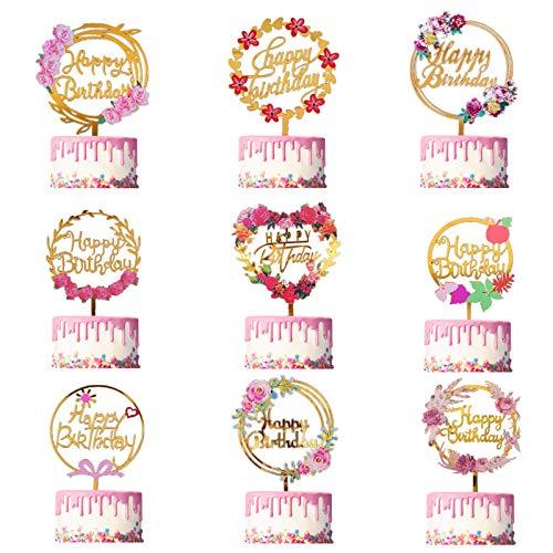 9 Pcs Blumen Happy Birthday Cake Topper Set, Acryl Geburtstag Gold Cupcake Topper, Geburtstag Glitter Torten Topper, Geeignet Geburtstag Dekoration Für Kinder Mädchen Frauen Glitzer Party Dekoration