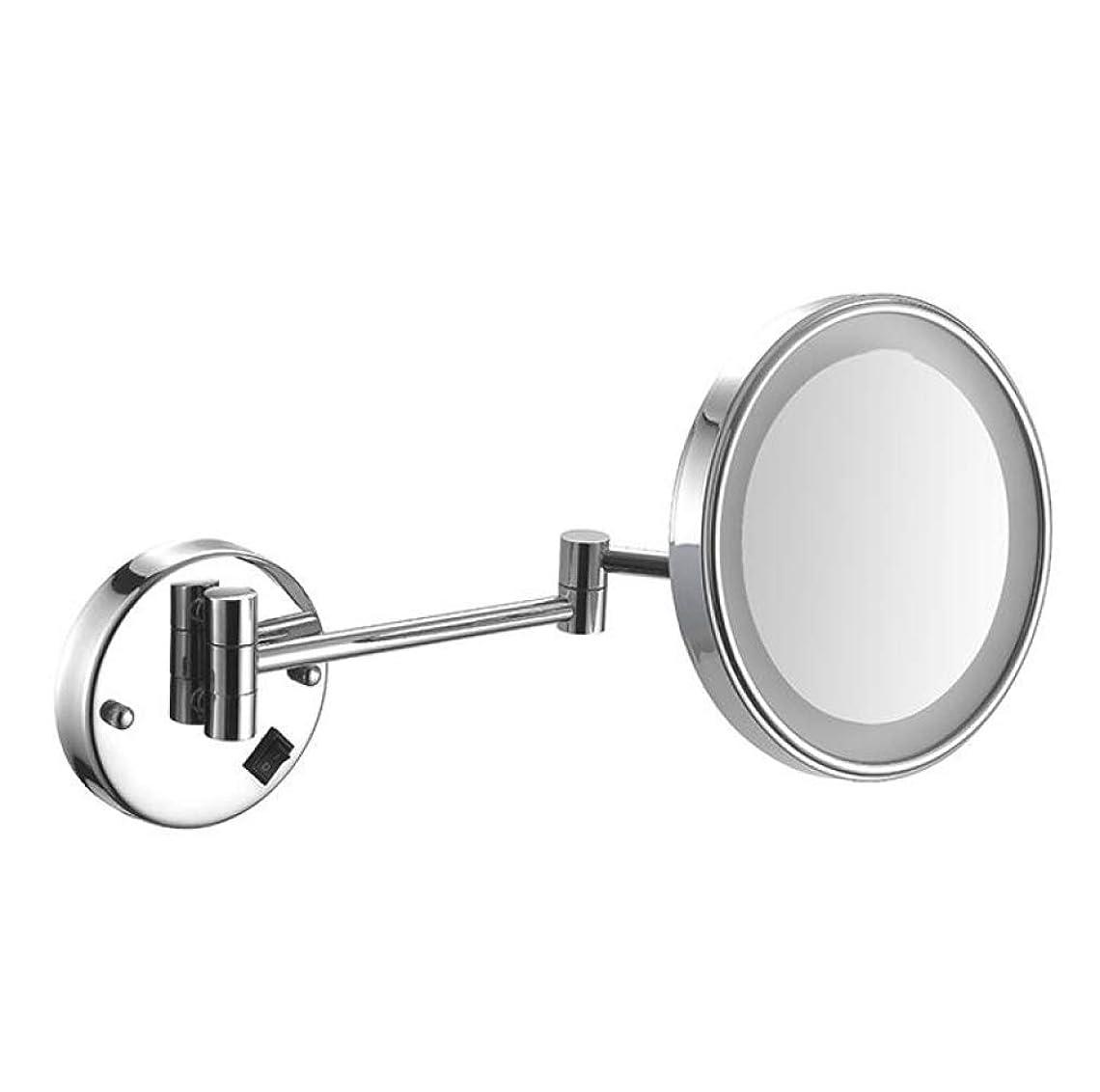 重くする過度に万歳HUYYA 化粧鏡LEDライト、両面 壁掛け式 化粧ミラー 3倍拡大バスルームミラー伸縮可能折り けメイクミラー有線接続,Silver_8inch