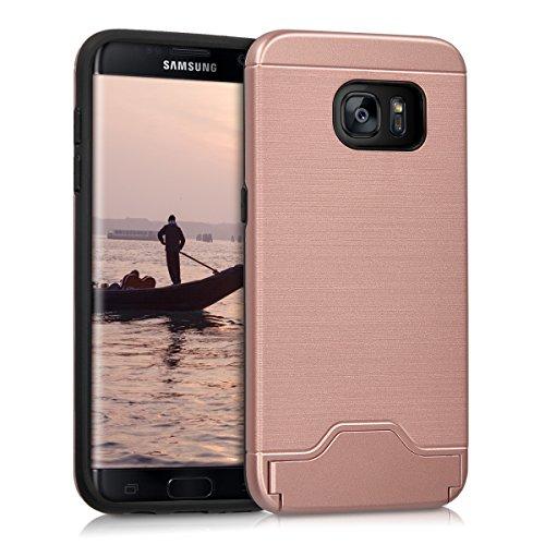 kwmobile Funda para Samsung Galaxy S7 Edge - Carcasa híbrida de TPU con diseño híbrido Pulido en Oro Rosa
