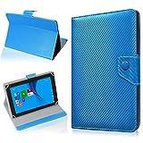 NAUC Tasche Hülle für ODYS Ieos Quad 10 Pro Schutzhülle Tablet Cover Hülle Bag Etui, Modellauswahl:Blau Carbon-Erscheinungsbild Magnetverschluss