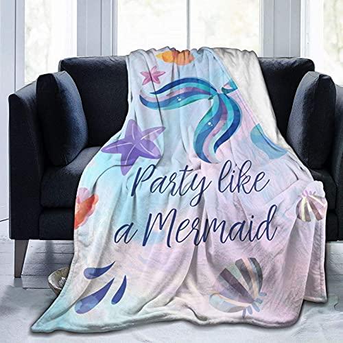 Manta de sirena linda sirena suave y acogedora manta sherpa cálida para niñas y mujeres, manta rosa brillante para sofá cama, sala de estar de 127 x 152 cm