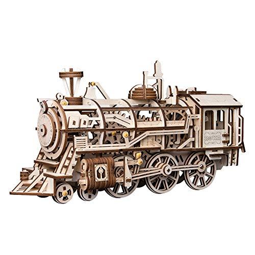 Robotime Dampflokomotive mechanischer Baukasten - 3D Holzpuzzle Modellbau Set Denkspiel - Rätsel Geschenke für Kinder, Jugendliche und Erwachsene