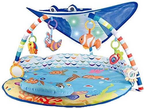 PETIT ALO Manta De Juegos Bebé y Gimnasio De Actividades Bebé Musical | Manta De Gateo, Gimnasio De Actividad Para Bebé Animales Marinos | Gimnasio Bebé Interactivo Con Luces y Sonido
