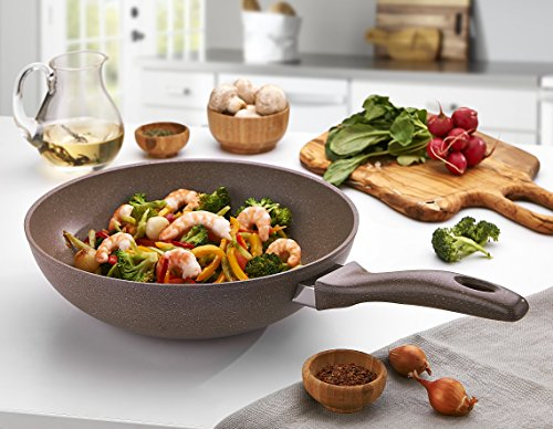 Granite Wok Pan 11-Ich | Non-Stick | Scratch-Resistant Forged Aluminum w/ QuanTanium Coating | Even Heating Cooking Dishware | Includes Storage Bag
