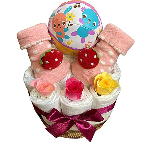 おむつケーキ 女の子 出産祝い プチギフト ボール いちご ソックス 赤ちゃん