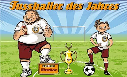 Fanshop Lünen Fahne - Flagge - Fußballer des Jahres - Kinder - Pokal - Bier - Ball - Fußball - 90x150 cm - Hissfahne mit Ösen -