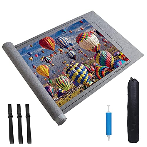 JOLIGAEA Tapete Puzzle, Alfombrilla Portátil para Rompecabezas para 1500 Piezas Puzzle, Porta Puzzle, Alfombrilla de Fieltro para Puzzles con Bolsa de Almacenamiento de Bomba de Tubo, Gris