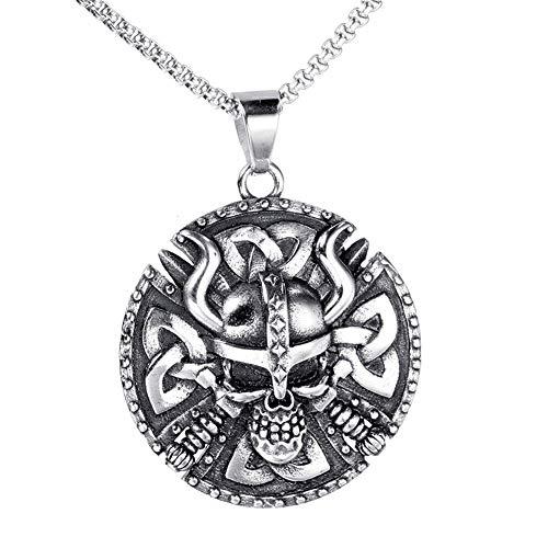 Collar Aerfeisi hombre-colgante del encanto del cráneo de Viking-hombres del protector de acero de titanio colgante (cadena de plata 550 mm / 600 mm) Confort - Bandas Ideal for gimnasio, trabajo, caza