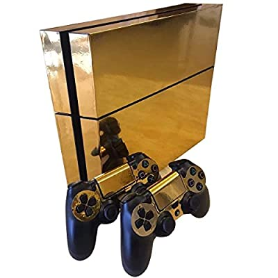 Yosoo Skin Sticker For PS4 Playstation 4 Console and Controller Electroplating Decal (Gold)