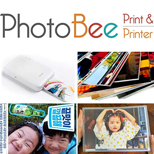 Photobee Portable Photo Printer - White (12 Sheets of Sticky-Backed Photo Paper are Included)