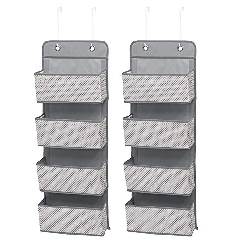 Delta Children 4 Pocket Over The Door Hanging Organizer - 2 Pack, Easy Storage/Organization Solution - Versatile and Accessible in Any Room in the House, Cool Grey , 13x3.5x36 Inch (Pack of 2)