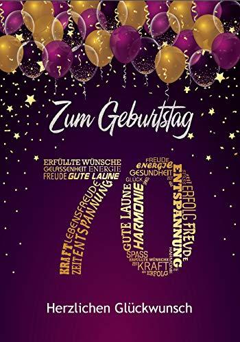Elegante Glückwunschkarte zum 70. Geburtstag einzigartige Geburtstagskarte A5 mit Nummer und Glückwünschen Pink Lila (70. Geburtstag)