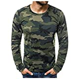 LAOLUO T-Shirt Camouflage Homme Manches Longue Slim Fit Imprimé Patchwork Tee Shirt Col Rond Casual Respirant Outdoor Tops Militaire Tactique Camping ChicBeau Hauts