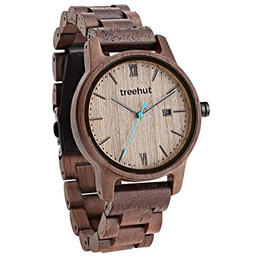 Treehut Men's Walnut Wooden Watch with All Walnut Wood Strap Quartz Analog Japanese Movement Watch