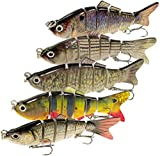 WDG 5Pcs Bass Fishing Lures Trout Multi Jointed Swimbaits 6 Segmented Trout Bait with Portable Fishing Tackle Box Pack of 5