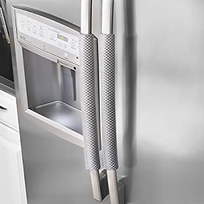 """OUGAR8 Refrigerator Door Handle Covers Handmade Decor Protector for Ovens, Dishwashers.Keep Your Kitchen Appliance Clean from Smudges,Food Stains(Rhombus Gray,19.7"""" L4 W)"""