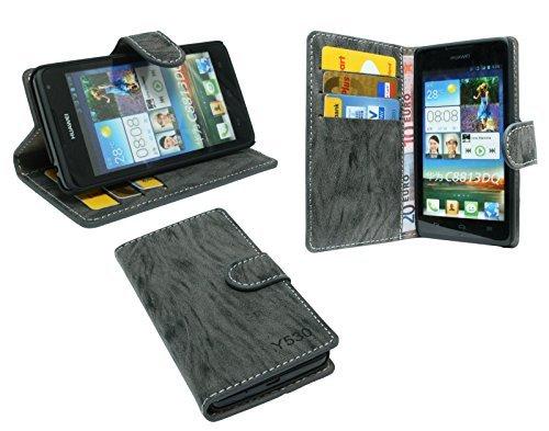 ENERGMiX Elegante Buch-Tasche kompatibel mit Huawei Ascend Y530 in Anthrazit Wallet Book-Style